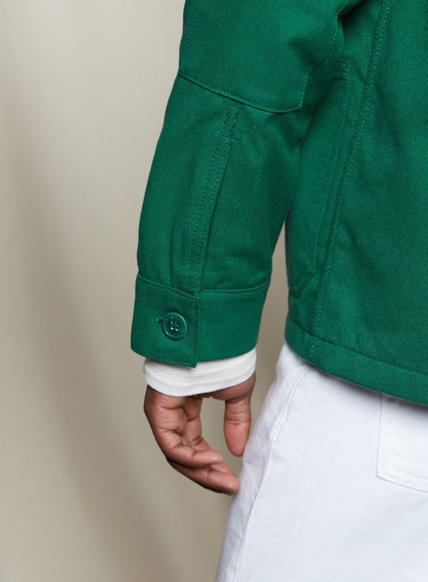 back view of button & cuff on bottle green worker jacket