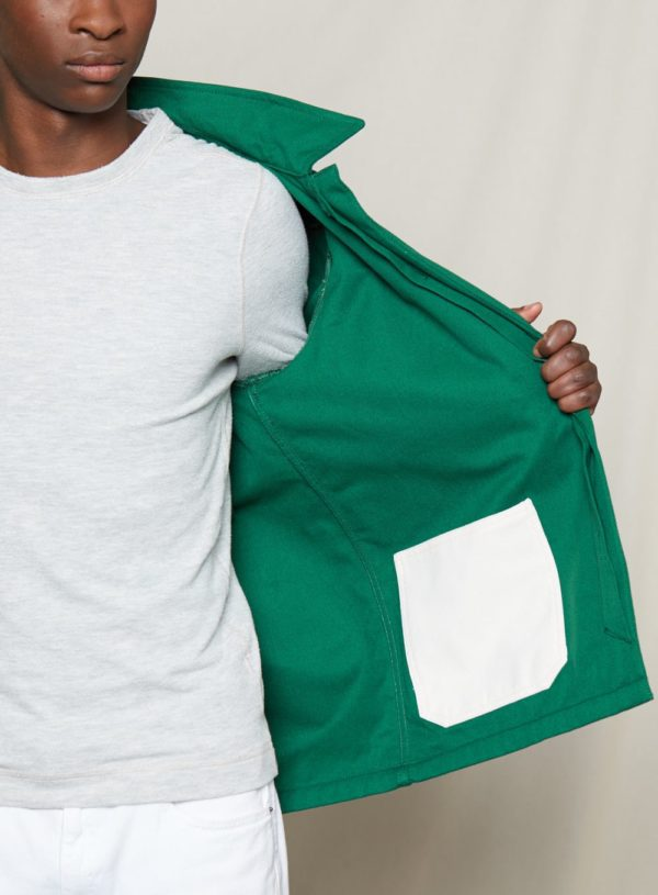 interior pocket of bottle green worker jacket