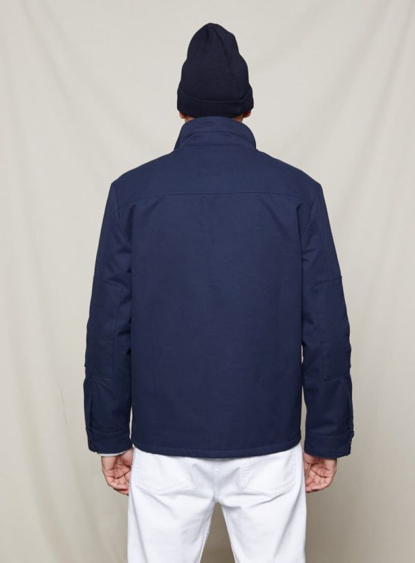 04 worker jacket in navy back view
