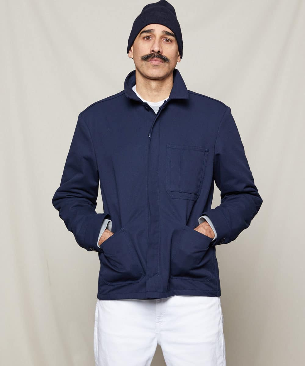 navy worker jacket with hat front viet