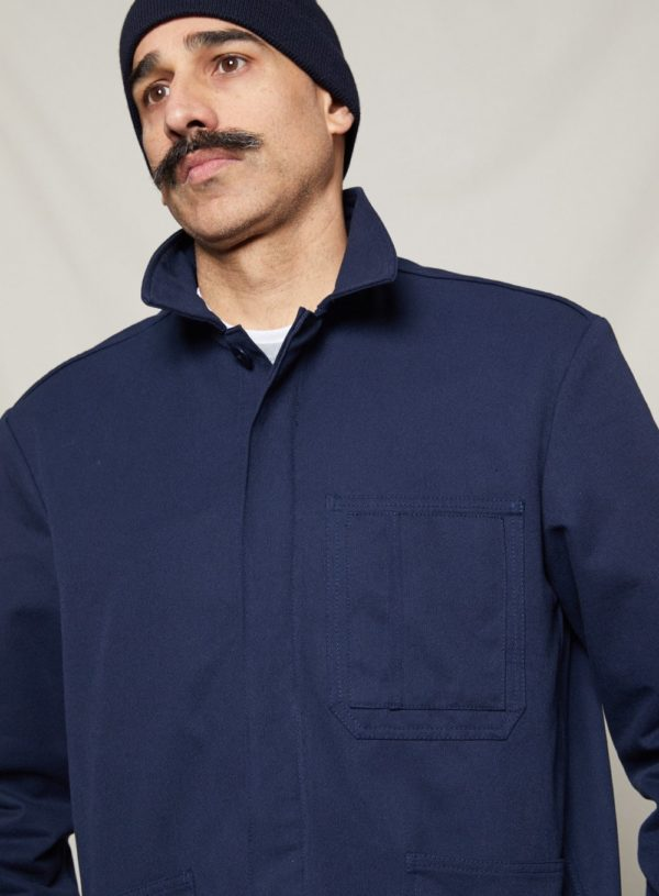 navy worker jacket with hat