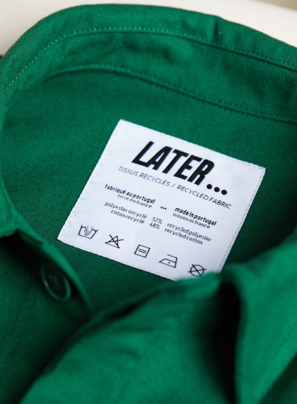 LATER product label for worker jacket